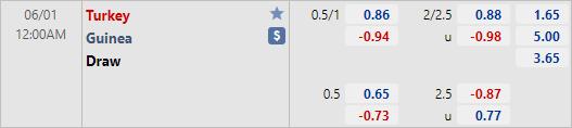 Tỷ lệ kèo bóng đá giữa Thổ Nhĩ Kỳ vs Guinea